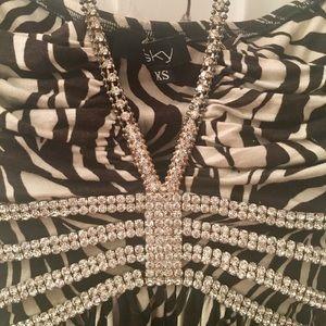 Sky rhinestone embellished zebra print top