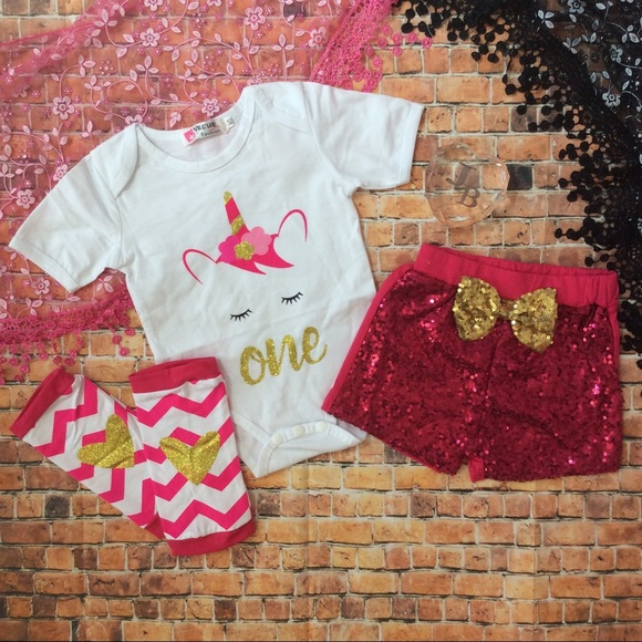 0475461e4236 Matching Sets | Baby Girl Unicorn 1st Birthday Outfit 4pc | Poshmark