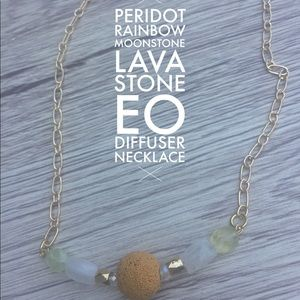 Aromatherapy necklace peridot moonstone lava