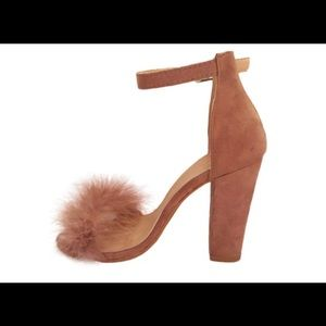 Shoes - Fur Ankle Strap Heels