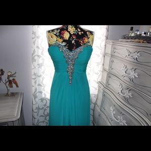 Decode 1.8 Teal with crystal strapless formal gown