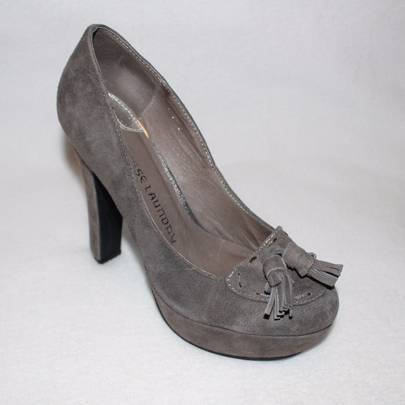 83b3542f954 Chinese Laundry Shoes - Chinese Laundry Gray Suede Oxfords Platform Pumps