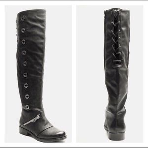Shoes - Black rivet trim over the knee boots