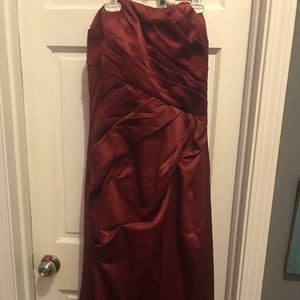 Wine colored long strapless dress
