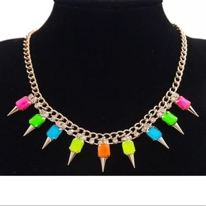 Lana bright multicolor crystal spike gold necklace