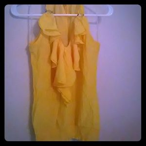 Tops - Sheer yellow halter