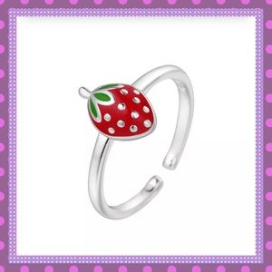 🍓Silver Strawberry Open Ring🍓