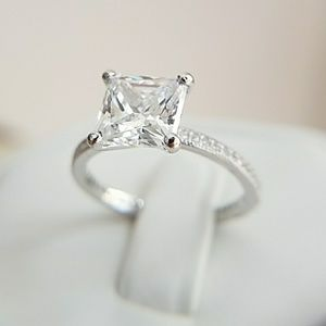 Jewelry - 14k Gold plated 2ct Princess cut Engagement Ring
