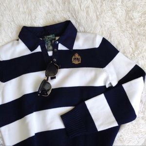 RALPH LAUREN blue+white stripe longsleeve sweater