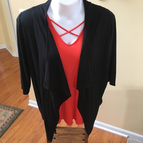 73% off Cato Sweaters - Black Waterfall Cardigan with Ruched Seams ...