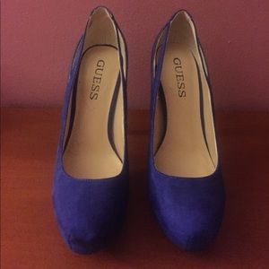 Guess blue suede and faux leather heels, 6.