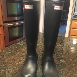 Matte black tall hunter boots