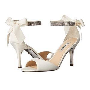 Ivory Satin Bridal Heels with Rhinestones & Bow