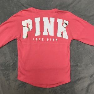 🔥SALE🔥VS Pink Varsity Crew Foil Graphic