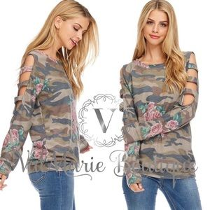 Camo Floral French Terry Top