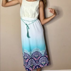 Other - Ombré White and Multi Color Maxi Summer Dress