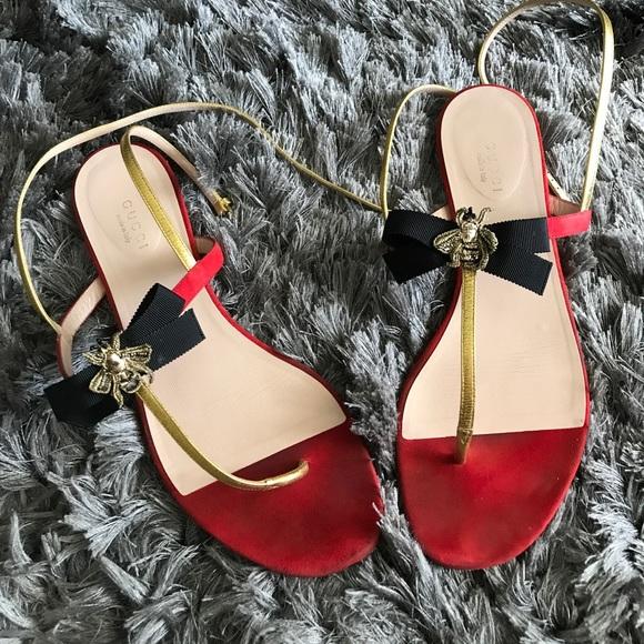 de696510812 Gucci Shoes - Gucci Moody Bee Bow Thong Sandals Flats 39