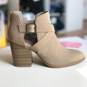 Taupe Suede Feel Buckle Booties