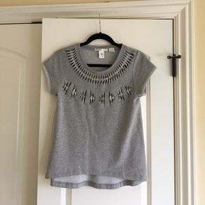 Fabulous gray cutout knit top by design history