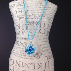 Blue glass art necklace