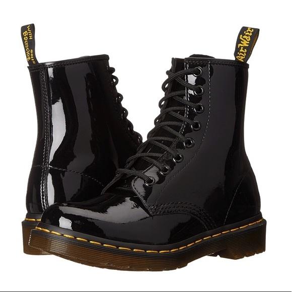 Black Shiny Lace Up Dr Martens Boots