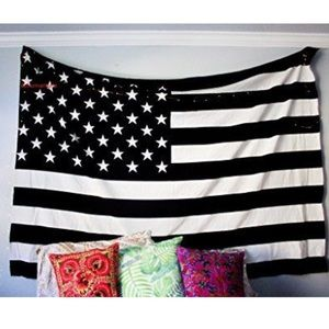Other - Black & white American flag tapestry