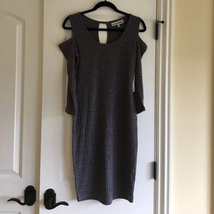 Dresses & Skirts - Sexy bodycon gray sweaterdress w/ shoulder cutouts