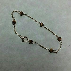 Jewelry - Vintage 14k gold & tiger eye bracelet
