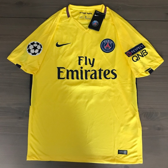 wholesale dealer 9f059 f8af1 PSG Neymar Jr. #10 soccer jersey men Nike Yellow NWT