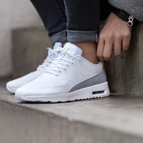 5ac00c18f036 Women s Nike Air Max Thea White + Silver Sneakers