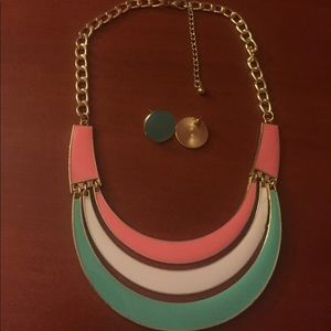 Jewelry - Colored necklace with earrings, never worn