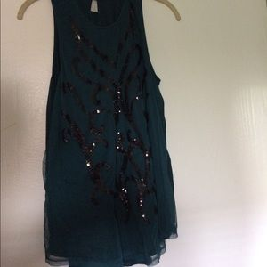 teal sequined dressy tank