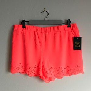 Bright Coral Scalloped Laser Cut Shorts