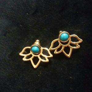 Golden Lotus turquoise ear jackets, earring