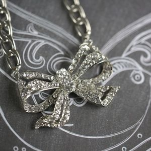 Crystal Rhinestone Bow Tie Ribbon Necklace