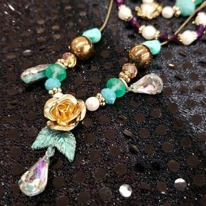 Betsey Johnson floral skull necklace