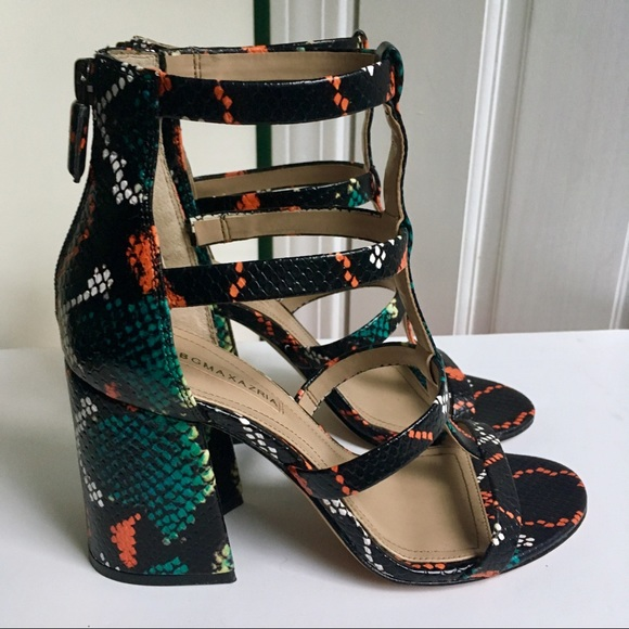 f9e2d92e92 BCBGMaxAzria Shoes | Bcbg Parley Strappy Leather Sandals Snake Print ...