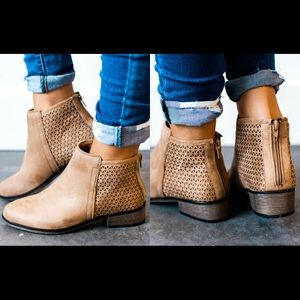 Cut Out Detailed Bootie Tan