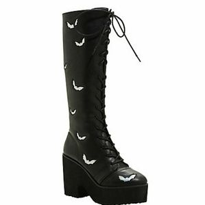 9da82cceac5b Hot Topic Shoes - Holographic Bat Lace-Up Tall Leather Platform Boot