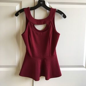 Tops - Brand new without tags, maroon peplum tank
