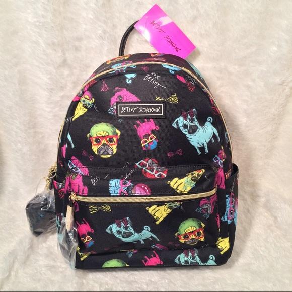 NEW Rare Betsey Johnson Pug Backpack