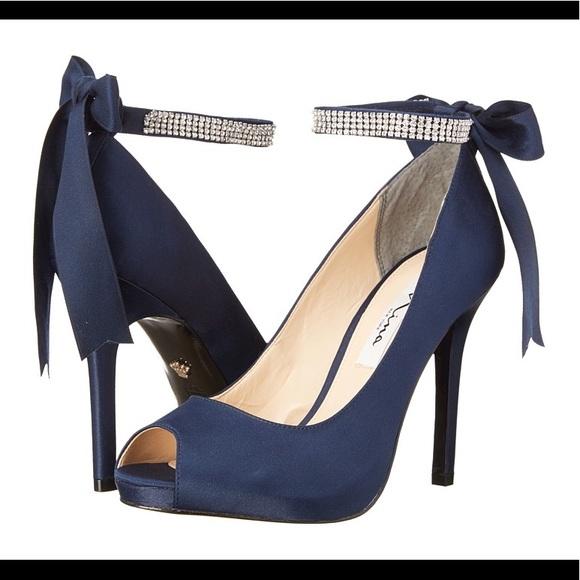 f1cdba349f1 FLASH⌛️Nina Satin Navy Blue Bow  rhinestone heel 9
