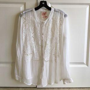 Designer embroidered white blouse, semi sheer