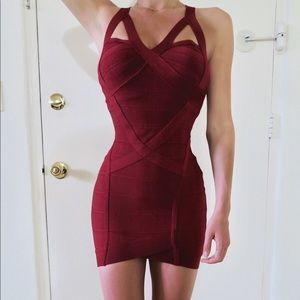 Dresses & Skirts - Burgundy Bandage Dress