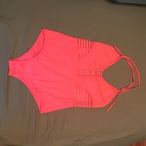 Hot pink lace striped one piece NWOT