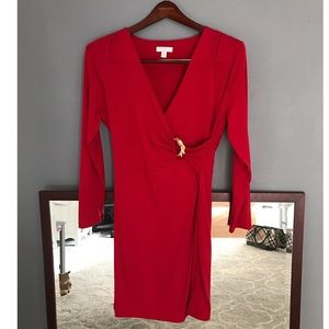 Charter Club Red Stretchy Faux Wrap Around Dress