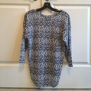 Navy blue and white round neck sweater