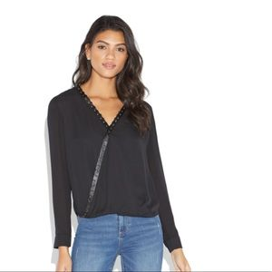 Black Cross Front Whipstitch Blouse