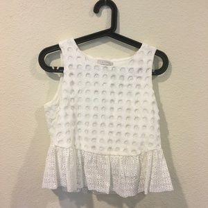 1. State white peplum crochet circle ruffle top