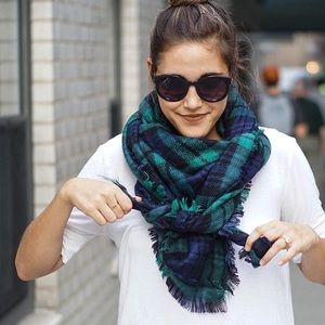 Accessories - Blue and Green Plaid Blanket Scarf